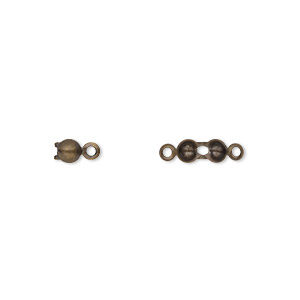 bead tip, antique gold-plated brass, 6.5x3.5mm bottom clamp-on with 2 closed loops. sold per pkg of 100.