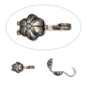bead tip, hot tips, antique silver-plated brass, 8x5mm bottom clamp-on with flower and open loop. sold per pkg of 100.