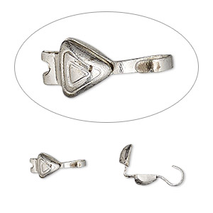 bead tip, hot tips, antique silver-plated brass, 8x5mm triangle. sold per pkg of 100.