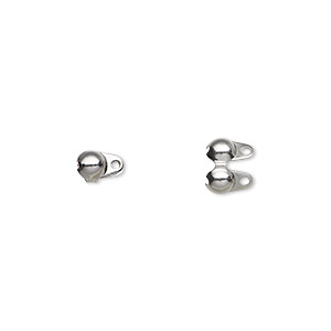 bead tip, stainless steel, 6x4mm side clamp-on, double loop. sold per pkg of 20.