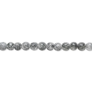 bead, tourmalinated quartz (natural), 4mm round, b grade, mohs hardness 7. sold per 16-inch strand.