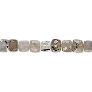 bead, tourmalinated quartz (natural), 5-7mm hand-cut faceted cube, c grade, mohs hardness 7. sold per 8-inch strand.