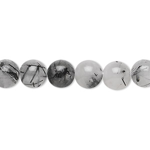 bead, tourmalinated quartz (natural), 8mm round, b grade, mohs hardness 7. sold per 16-inch strand.
