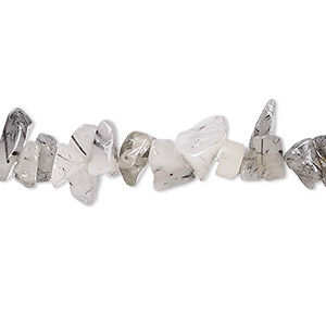 bead, tourmalinated quartz (natural), medium chip, mohs hardness 7. sold per 15-inch strand.