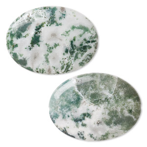 bead, tree agate (natural), 40x30mm flat oval, b grade, mohs hardness 6-1/2 to 7. sold per pkg of 2.