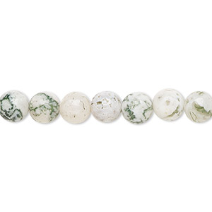 bead, tree agate (natural), 6mm round, b grade, mohs hardness 6-1/2 to 7. sold per 16-inch strand.