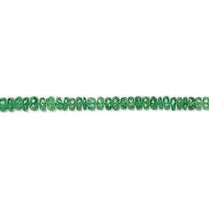 bead, tsavorite garnet (natural), 2x1mm-4x2mm graduated faceted rondelle, b grade, mohs hardness 7 to 7-1/2. sold per 16-inch strand.