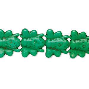 bead, turquoise (dyed / imitation), apple green, 16x14mm carved bee. sold per 15-inch strand.