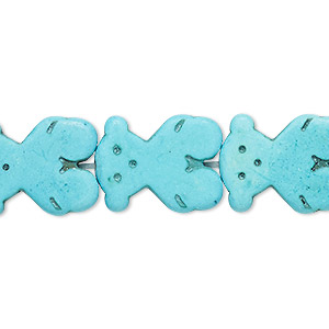 bead, turquoise (dyed / imitation), blue, 19x15mm-20x15mm carved flat bear. sold per 15-inch strand.