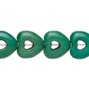 bead, turquoise (dyed / imitation), dark green, 15x15mm open heart with 4x4mm center hole. sold per 15-inch strand.