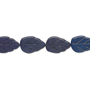 bead, turquoise (dyed / imitation), dark lapis blue, 13x9mm-14x9mm carved flat leaf. sold per 15-inch strand.