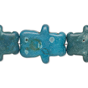 bead, turquoise (dyed / imitation), dark teal blue and dark teal green, 25x20mm-26x22mm carved bear. sold per 15-inch strand.