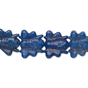 bead, turquoise (dyed / imitation), medium to dark lapis blue, 15x14mm double-sided bee. sold per 15-inch strand.