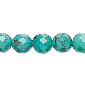 bead, turquoise (dyed / stabilized), 10mm faceted round, c grade, mohs hardness 5 to 6. sold per 16-inch strand.