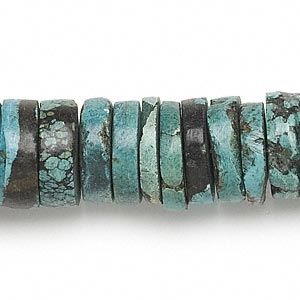 bead, turquoise (dyed / stabilized), 14x2mm-18x10mm heishi, c grade, mohs hardness 5 to 6. sold per 16-inch strand.