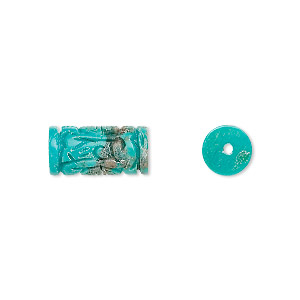 bead, turquoise (dyed / stabilized), 14x7mm carved tube, b grade, mohs hardness 5 to 6. sold individually.