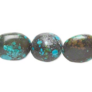 bead, turquoise (dyed / stabilized), 17x15mm-32x22mm graduated puffed oval, c grade, mohs hardness 5 to 6. sold per 14-inch strand.