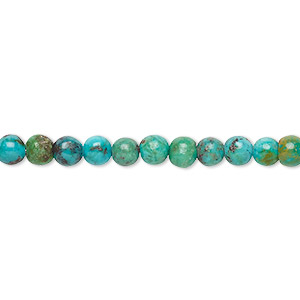 bead, turquoise (dyed / stabilized), 4mm round, b grade, mohs hardness 5 to 6. sold per 16-inch strand.