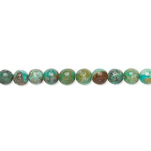 bead, turquoise (dyed / stabilized), 4mm round, c grade, mohs hardness 5 to 6. sold per 16-inch strand.