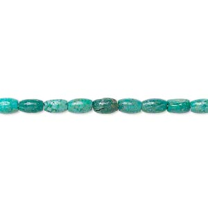 bead, turquoise (dyed / stabilized), 4x2mm-5x3mm oval, c grade, mohs hardness 5 to 6. sold per 15-inch strand.