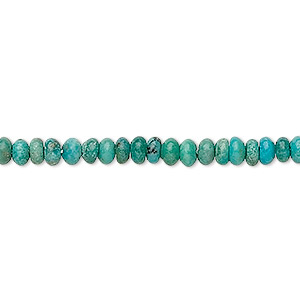 bead, turquoise (dyed / stabilized), 4x2mm rondelle, b grade, mohs hardness 5 to 6. sold per 16-inch strand.