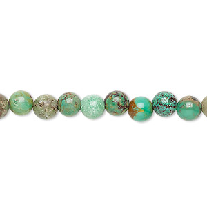bead, turquoise (dyed / stabilized), 6mm round, c grade, mohs hardness 5 to 6. sold per 15-inch strand.