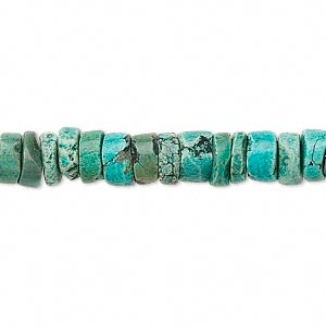 bead, turquoise (dyed / stabilized), 7-12mm heishi, c grade, mohs hardness 5 to 6. sold per 15-inch strand.