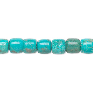 bead, turquoise (dyed / stabilized), 7x7mm drum, b grade, mohs hardness 5 to 6. sold per 16-inch strand.