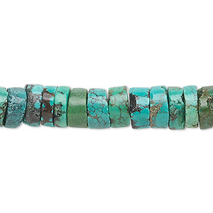 bead, turquoise (dyed / stabilized), 8x4mm heishi, c grade, mohs hardness 5 to 6. sold per 16-inch strand.