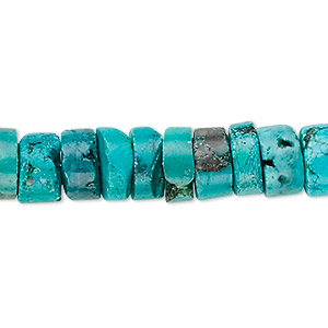 bead, turquoise (dyed / stabilized), 9x2mm-10x4mm heishi, b grade, mohs hardness 5 to 6. sold per 16-inch strand.