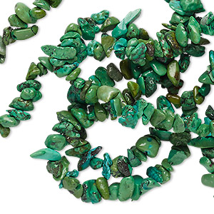 bead, turquoise (dyed / stabilized), apple green, small chip, mohs hardness 5 to 6. sold per 34-inch strand.