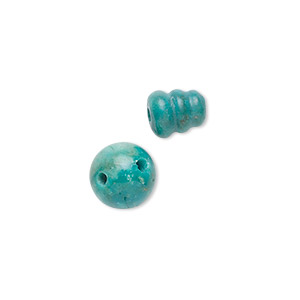 bead, turquoise (dyed / stabilized), blue, 10mm t-drilled round and 9x7mm cone, b grade, mohs hardness 5 to 6. sold per set.