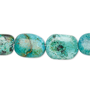 bead, turquoise (dyed / stabilized), blue, 16x11mm-18x14mm flat rounded rectangle, c- grade, mohs hardness 5 to 6. sold per 7-inch strand.