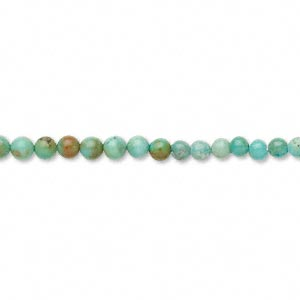 bead, turquoise (dyed / stabilized), blue, 2-4mm round, c grade, mohs hardness 5 to 6. sold per 16-inch strand.