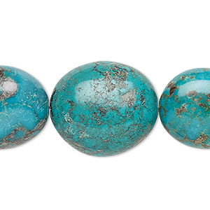 bead, turquoise (dyed / stabilized), blue, 20x17mm-24x21mm puffed oval, c+ grade, mohs hardness 5 to 6. sold per 8-inch strand.