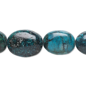 bead, turquoise (dyed / stabilized), blue, 30x25mm-40x30mm puffed oval, c grade, mohs hardness 5 to 6. sold per 16-inch strand.