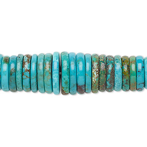 bead, turquoise (dyed / stabilized), blue, 3x2mm-13x2mm graduated rondelle, b grade, mohs hardness 5 to 6. sold per 16-inch strand.