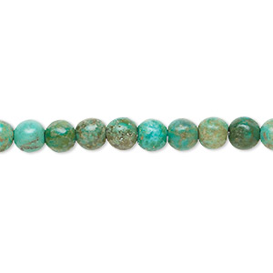 bead, turquoise (dyed / stabilized), blue, 4-5mm round, c grade, mohs hardness 5 to 6. sold per 16-inch strand.
