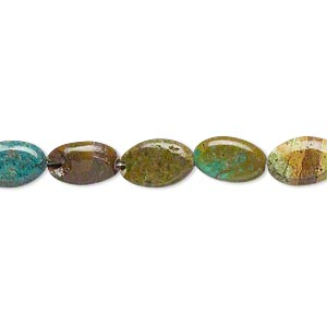 bead, turquoise (dyed / stabilized), blue, 9x6mm-10x7mm puffed oval, c- grade, mohs hardness 5 to 6. sold per 7-inch strand.