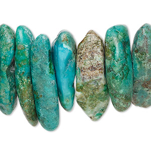 bead, turquoise (dyed / stabilized), blue and blue-green, gigantic chip, mohs hardness 5 to 6. sold per 15-inch strand.