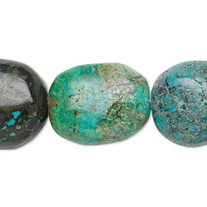 bead, turquoise (dyed / stabilized), blue-green, 18x14mm-23x18mm puffed oval, c- grade, mohs hardness 5 to 6. sold per 15-inch strand.