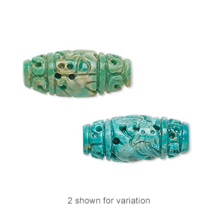 bead, turquoise (dyed / stabilized), blue-green, 20x10mm carved oval, b grade, mohs hardness 5 to 6. sold individually.