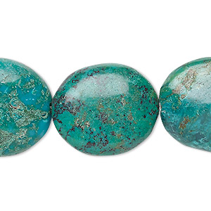 bead, turquoise (dyed / stabilized), blue-green, 22x20mm-37x27mm puffed oval, c grade, mohs hardness 5 to 6. sold per 8-inch strand.