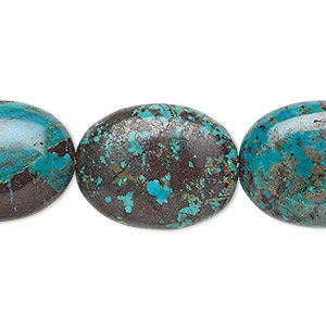 bead, turquoise (dyed / stabilized), blue-green, 24x18mm-25x20mm puffed oval, c+ grade, mohs hardness 5 to 6. sold per 7-inch strand.