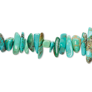 bead, turquoise (dyed / stabilized), blue-green, extra-large chip, mohs hardness 5 to 6. sold per 16-inch strand.