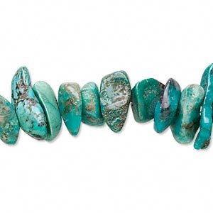 bead, turquoise (dyed / stabilized), blue-green, large chip, mohs hardness 5 to 6. sold per 15-inch strand.