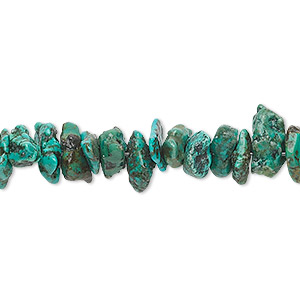 bead, turquoise (dyed / stabilized), blue-green, medium chip, mohs hardness 5 to 6. sold per 16-inch strand.