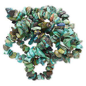 bead, turquoise (dyed / stabilized), blue-green, medium chip, mohs hardness 5 to 6. sold per 34-inch strand.