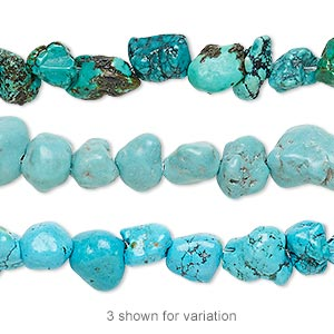 bead, turquoise (dyed / stabilized), blue-green, mini to small nugget, mohs hardness 5 to 6. sold per 16-inch strand.