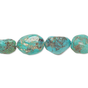 bead, turquoise (dyed / stabilized), blue-green, small to medium nugget, mohs hardness 5 to 6. sold per 16-inch strand.
